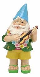 Ebros Free Spirited Hippie Hawaii Themed Vacation Fairy Garden Papa Gnome Playing Ukulele Serenade Figurine Diy Mr Gnomes Collection Statue Home Decor