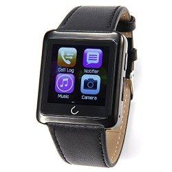 Bluetooth Smart Watch Waterproof Leather Strap Wristwatch Uwatch Sync Phone Call Sms App Notificatio
