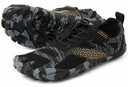 Men's Whitin Cross-trainer Barefoot & Minimalist Shoe Zero Drop Wide Toe Box Five Fingers Gym Fitness Workout Trail Running Male Black Size 9