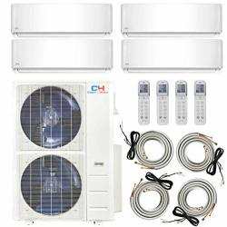 Quad Zone 4 Ductless Heating And Cooling MINI Split Ductless Air Conditioner Heat Pump System 9-18 - 18-18