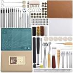 Leather Sewing Tools 44 Pcs Leather Craft Tools Kit For Hand Sewing Stitching Stamping Set And Saddle Making