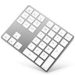 Bluetooth Numeric Keypad Rechargeable Aluminum 34-KEY Number Pad Slim External Numpad Keyboard Data Entry Compatible For Macbook