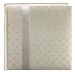 "Pioneer DA200FDR Fabric Diamond Ribbon Wedding Photo Album Holds 200 4X6"" Photos 2 Per Page Color May Vary"