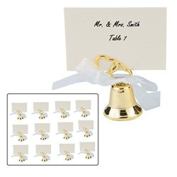 Zugar Land Gold Two Heart Wedding Bell Place Card Holders 12 Pack Metal. 36