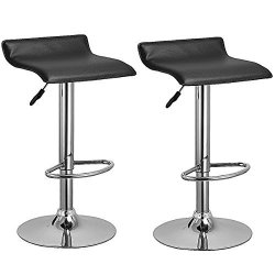 G&gonline Set Of 2 Swivel Bar Stools Adjustable Pu Leather Backless Dining Chair Black New