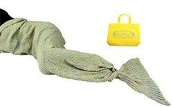 Sun Cling Mermaid Tail Blanket Crochet For Adult Teens Living Room Bedroom Sofa Super Soft Scales Blankets Sleeping Bags-yellow