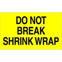 "Tape Logic TLDL2181 Labels ""do Not Break Shrink Wrap"" 3"" X 5"" Fluorescent Yellow 1 Roll Of 500 Labels"