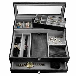 Valet Tray For Men| Sleek Dresser-organizer Box For Storage & Display| Perfect For Phone Watches Sunglasses Jewelry Wallet Rings Necklace & More| Carbon Fiber & Faux Leather