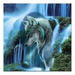 Amazingdeal Diy Painting Waterfall Wolf 5D Diamond Diy Painting Kit Home Decor Craft 35 X 35CM