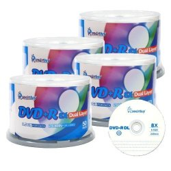 Smartbuy 85GB 240MIN 8X Dvd R Dl Dual Layer Double Logo Blank Media Disc Spindle 200 DISC