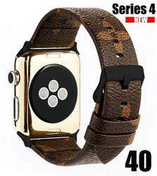 Goke Pu Vegan Leather Watch Band Brown Flower Printed Luxury Strap Ceplacement For 40MM Apple Iwatch Series 4 Brown Flower 40MM