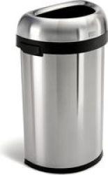 Stingray Simple Human Semi-round Open Bin - Heavy Gauge 60L Brushed Stainless Steel