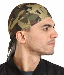 Cooling Helmet Liner - Do Rag Dew Rag Skull Cap Beanie For Men - Sweat Wicking Pirate Hat Bandana & Motorcycle Head Wrap