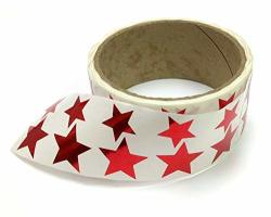 """Metallic Foil Star Stickers Assorted Sizes """" And 1"""" - 450 Labels Per Roll With Perf On Roll After Every 10 Labels Red"""