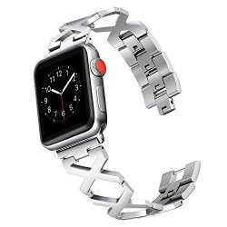 Secbolt Bands Compatible Apple Watch Band 42MM X Pattern Stainless Steel Wristband Sport Strap Iwatch Series 3 2 1 Silver Without Rhinestones