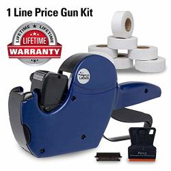 PERCO 1 Line Price Gun With Labels Kit - Includes 1 Line Pricing Gun 10 000 White Labels With Pre-loaded Inker