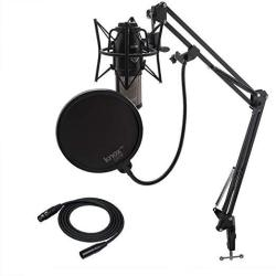 Akg P220 Condenser Microphone With Knox Gear Studio Stand Pop Filter And Xlr Cable