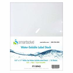 """Smartsolve Water-soluble 3PT Label Stock 8.5""""X11"""" 25 Sheets"""