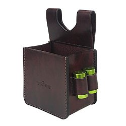 Tourbon Leather Waist Shooting Ammo Bag Shotgun Shell Pouch With 2 Bullet Loop