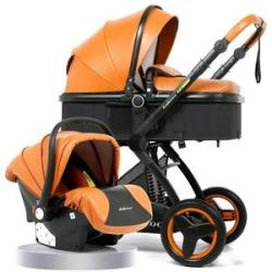 Belecoo Baby Stroller Pram 3 In 1 Pu Leather Camarell