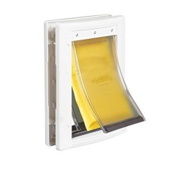 PetSafe Extreme Weather Energy Efficient Pet Door Unique 3 Flap System White For Small Dogs And Cats Under 15 Lb.