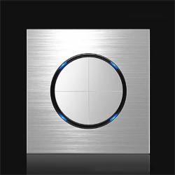86MM Gray Aluminum Wire Drawing LED Switch Panel Style:four Open Dual Control