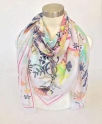 White Grecian Floral Fringed Boho Scarf - Mint