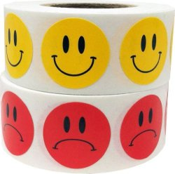 InStockLabels.com Smiley Face Frowny Face Stickers Yellow Happy Red Sad Labels For Teachers 3 4 Inch Round Circle Dots 500 Stickers Per Design 1 000 Adhesive Stickers