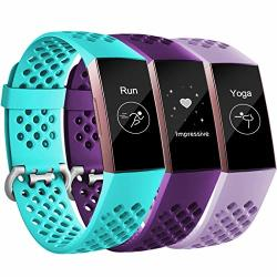 Maledan Compatible With Fitbit Charge 3 And Charge 3 Se Bands Large Lavender And Teal And Plum