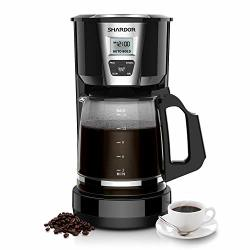 Drip Shardor Coffee Maker 12-15 Cup Programmable Brew Coffee Machine 3.0 Automatic Start And Shut Off Brew Strength Control Warming Plate Glass Carafe 60OZ Black
