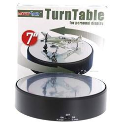 """Trumpeter 9835 Battery Operated Round Mirrored 7"""" Diameter Display Turntable For Model Kits"""
