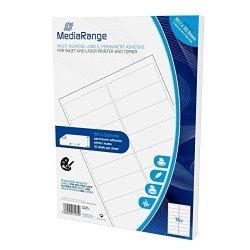 Mediarange MRINK147800PI Ce S White Adhesive Labels Self-adhesive Tapes White Label Permanent 99.1X 33.9 A4 Matt Laser inkjet