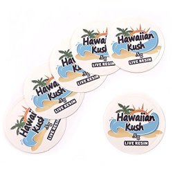 """Shatter Labels 100 Hawaiin Kush Live Resin 0.5G Collective Supply Medical Rx Labels Stickers 1"""" CS-015"""