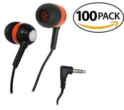 Smithoutlet 100 Pack Orange black chrome Bulk Earbuds Silicone Tip Headphones