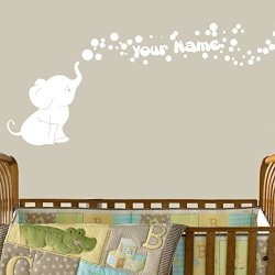 Decal The Walls Elephant Bubbles Vinyl Decal With Personalized Name Nursery White