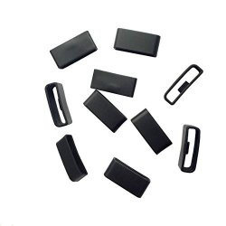 E Ecsem Black Silicon Fastener Ring Security Loop For Garmin Vivosmart Hr & Hr+ Approach X40 Samrtwatch Band No Bands And Watch