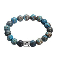 Lemegeton Handmade 12 Zodiac Scorpio Bracelet Punk Astrology Horoscopes 10 Mm Beads Bracelet Men 2017