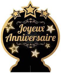 USA Les Tresors De Lily Q5967 - Centerpiece 'joyeux Anniversaire' Black Gold - 28X23 Cm.