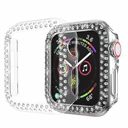 Greaciary Sparkle Compatible With Apple Watch 38MM 40MM 42MM 44MM Compatible With Iwatch Face Bling Crystal Diamond Plate Cover Protective Frame For Apple Watch
