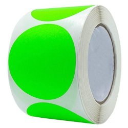 Wootile 3 Inch Round Fluorescent Green Color-coding Stickers Permanent Adhesive Writable Surface 250 Labels roll