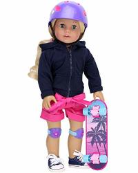 """Sophia's 18"""" Doll Skateboard With Helmet & Knee Pads Perfect For Your Favorite American Doll"""