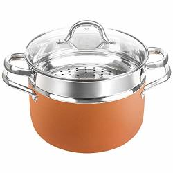 Shineuri 6 Quart Stockpot With Lid Nonstick Copper Casserole Pot With Stainless Steel Steamer Inset Compatible Forinduction Gas Electric&stovetops - Dishwasher Safe Pfoa ptfe Free