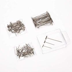 AIEX 150 Pieces Stainless Steel T-Pins Set 2 Inch 1 Inch 1-1 4 Inch Metal T Shaped Pins Bulk For Wigs Sewing Blocking And Knitti