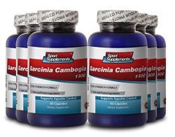 Pure Garcinia Cambogia Premium Extract 1300 - Mood Enhancer - 6 Bottles 360 Capsules