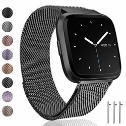 Ouwegaga Compatible For Fitbit Versa Bands Versa Lite Bands Women Men Straps Large Space Gray