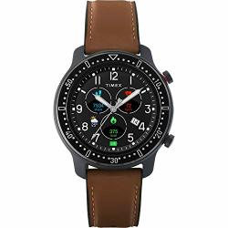 Timex Metropolitan R Amoled Smartwatch With Gps & Heart Rate 42MM Black With Brown Leather & Silicone Strap