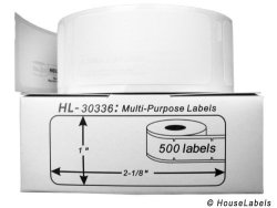 IZulu Corporation Dba HouseLabels.com Houselabels 1 X 2-1 8 Inches Dymo-compatible 30336 Multipurpose Labels 1 Roll 500 Labels Per Roll