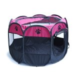 Patgoal Pet Portable Foldable Playpen Exercise Kennel Dogs Cats Indoor outdoor Removable Mesh Shade Cover M Rose Red