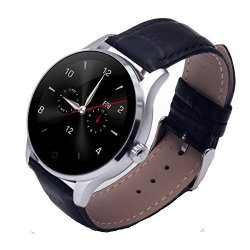Sepver All- In -1 K88H Smart Watch Round HD Ips Touch Screen Bluetooth 4.0 Removable Leather Strap Hea