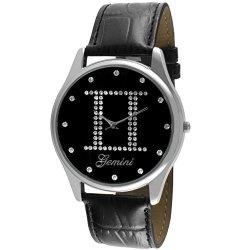 Viva Crystal Studded Face Zodiac Horoscope Black Leather Silver Watch - Gemini